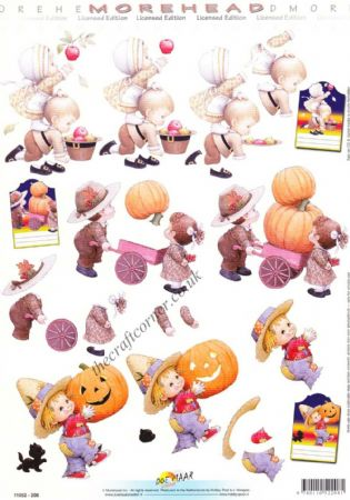 Morehead Halloween Children With Pumpkins 3D Decoupage Sheet